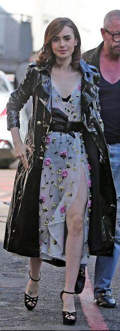 Lily Collins in Dress – Altuzarra Purse – Givenchy Coat – Zeynep Arcay Shoes – Jimmy Choo