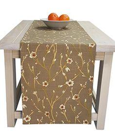 Superior Table Runner Khaki Brown, Table Runner Brown Floral Table Runner Table  Linens 108 Inches Long