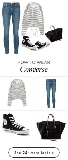 """Untitled #2669"" by misnik on Polyvore featuring Frame Denim, CÉLINE, Converse and Bebe"