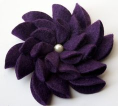 Felt Flower Pin Purple by tsahdesigns on Etsy