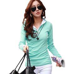 Casual t shirt women Long sleeve tshirt women hooded t-shirt cotton clothes vetement femme poleras de mujer slim tee shirt femme