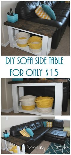 How to build a DIY sofa side table for about 15 dollars!  Step by step instructions