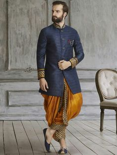 Shop Navy golden silk dhoti style indo western online from India. Mens Indian Wear, Indian Groom Wear, Indian Men Fashion, Indian Man, Men Ethnic Wear India, Groom Fashion, Men's Fashion, Wedding Dresses Men Indian, Wedding Dress Men