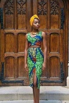 crop top, high-waist skirt - I like having an African top with a solid colored high waist skirt