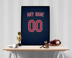 Cleveland Indians Jersey Poster - Print Personalized Select ANY Name & ANY Number