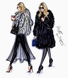 Hayden Williams Fashion Illustrations: Style On The Go: Mary-Kate & Ashley by Hayden Williams Hayden Williams, Fashion Art, Fashion Beauty, Girl Fashion, Womens Fashion, Paper Fashion, Fashion Illustration Sketches, Fashion Design Sketches, Mary Kate Ashley