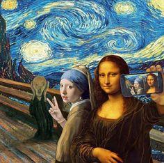 A famous painting ART selfie. The Scream by Edvard Munch, Starry Night by Vincent van Gogh, Girl With a Pearl Earring by Johannes Vermeer and Mona Lisa by Leonardo da Vinci. Memes Arte, Art Memes, Arte Pop, Pop Art, Art Du Collage, Street Art, Mona Lisa Parody, Photocollage, Funny Art