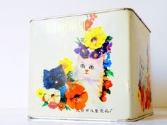 COOKIES BOX - Vintage Chinese Metal Tin Box with Little Cats/Kittens Motifs