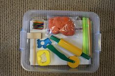 Playdough box: colored matchsticks, clay hammer, cookie cutters, straws & a few tools. Could also add animals. Craft Activities For Kids, Projects For Kids, Preschool Activities, Crafts For Kids, Senior Activities, School Projects, Toddler Fun, Toddler Preschool, Toddler Stuff