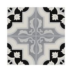 Pack of 12 Taza Black and Grey Handmade Cement and Granite Moroccan 8 x 8-inch Floor and Wall Tile (Morocco)