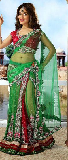 $517.14 Green and Red Net Stone Work Wedding Lehenga Saree 25262