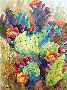 Watercolor painting- Texas prickly pear - bright, multicolored hues. 22 x 30 Arches watercolor paper. CACTUS ARRAY by Mary Shepard. www.maryshepard.com