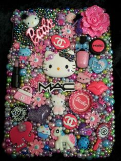 Hello Kitty Cat Case Flowers Cover Handmade Rhinestones Homemade fits iPad Mini