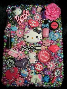 Hello Kitty Cat Case Flowers Cover Handmade Rhinestones Homemade fits iPad Mini
