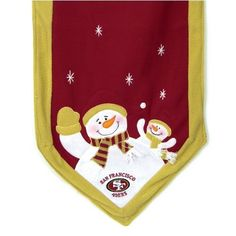 "San Francisco 49ers Snowman Table Runner by SC Sports. $29.95. 100% Polyester blend. San Francisco 49ers. San Francisco 49ers Snowman Table Runner. Polyester and fleece. SC Sports 72""x15"" Snowman Table Runner. Each runner features embroidered stars, parent and child snowman on each end, dressed in each team's official team colors and logo."
