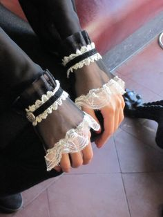 Victorian Wrist Cuffs Bracelet Black Off White. Lace Bracelet Gothic Jewelry accessories. Mysterious Secret.