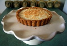 This coconut tart is filled with Greek yogurt and honey.