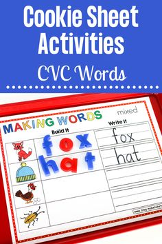 We just LOVE cookie sheet activities for teaching and practicing CVC words. Students use magnet letters to create the CVC word and then, using a dry erase marker, writes the CVC word. Great for centers! Cookie Sheet Activities, Letter Activities, Phonics Activities, Hands On Activities, Teaching Phonics, Kindergarten Literacy, First Grade Games, Short Vowel Activities, Making Words