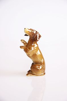 Porcelain dachshund figurine antique dog decoration by hipposdream, €43.00