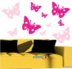 20pcs Polka Dots Flying ButterflyRemovable Graphic Art by ccnever, $32.95