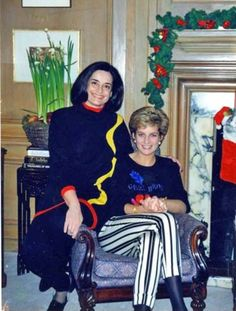 Princess Diana celebrating Christmas with her friend, Florence De Lima..Circa 1991-95. Other pinner: Princess Diana with lucid Fletcher de Lima. She flew to Washington one year (either 92 or 93) after Xmas day at Sandringham and spent the rest of the Xmas break with Lucias family.