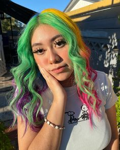 This color makes us 🤤💕@mymusehair used Iris Green, Cosmic Sunshine, Virgin Pink, Poseidon and Violet Dream to create this look 🌈 Unicorn Hairstyle, Pelo Multicolor, Arctic Fox Hair Color, Going Bald, Mohawks, Colorful Hair, Dream Hair, Rainbow Hair, Cool Haircuts