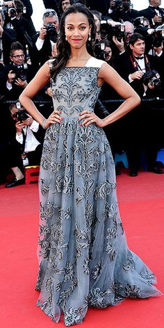 blue brocade Valentino gown with white shoulder detailing