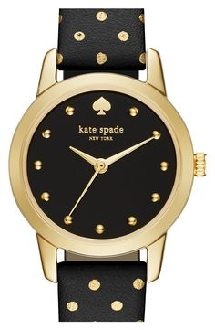 This adorable polka dot printed watch by Kate Spade would make the perfect holiday gift! The black and gold details create an ultra chic yet playful look.