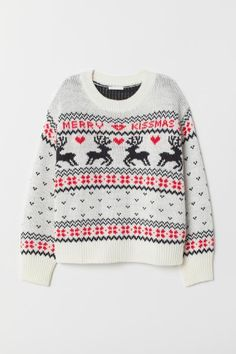 Pattern-knit sweater in a wool blend with ribbing at neckline, cuffs, and hem. Novelty Christmas Jumpers, Christmas Shirts, Christmas Sweaters, Christmas Clothing, Pretty Outfits, Fall Outfits, H&m Fashion, Sweater Knitting Patterns, Christmas Clothes