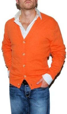 Polo Ralph Lauren Mens Cashmere Sweater Cardigan Orange Large.