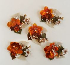 autumn wedding hair accessories, burnt orange flower hair clip, bridal hairpiece - LEAFLET - rustic wedding, flower girl $35.00