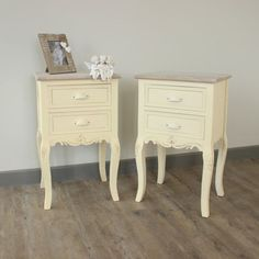 pair-of-cream-country-wooden-bedside-tables-shabby-vintage-chic-style-bedroom