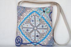 Beige fantasy crocheted lace bag medium size bag by bokrisztina