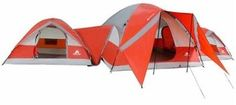 10-person-3-Dome-Tent-Ozark-Trail-ConnecTENT-Camping-Outdoors-Family-Orange-Tent
