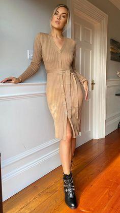 Ophelia Camel Ribbed Button Through Dress