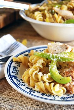 Lemon oregano chicken is paired with pasta, sautéed onions and green bell peppers in this light and delicious weeknight meal.