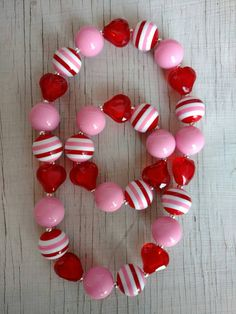 Valentine's stretchy bubblegum necklace red pink white heart gumball necklace photo prop party girl's jewelry red pink white Valentine's day by PinkPolkaDotHearts on Etsy