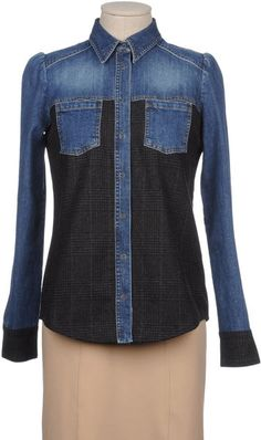 Two-toned Denim Shirt - could do this in light and dark denim