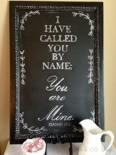 Anna and Co.: DIY {Before & After} Chalkboard LOVE- want to do one with this Scripture