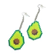 Avocado on a chain dangle earrings! Who doesnt love avocados?! Super lightweight, handmade by me. Made with mini Perler Beads, silver…