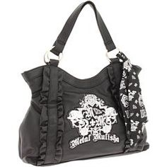 """$41.50 Handbags  Metal Mulisha Worthy Bag - Black X Nosz Size - Online Exclusive! Style thats so worth your attention.    Metal Mulisha logo featured.    Ruffled trims on the front.    Removable satin Metal Mulisha scarf accent.    Magnetic snap closure, inner pockets.    Faux leather construction, satin lining.    9"""" strap drop. http://www.amazon.com/dp/B004EZHIHU/?tag=pin0ce-20"""
