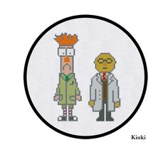 """Beaker and Bunsen"" Cross Stitch Pattern     Inspired by The Muppet Show. Scientists Beaker and Bunsen Honeydew. You can stitch Muppets together or separately. The scheme is divided into 2 parts.      ---------------------------------------------------------------------------------------------      Pattern Details:  Pattern Size on 14 Count Cloth (for two Muppets) :  50 x 66 stitches  9.1 x 12 cm  full cross stitches only  You will need 16 DMC color        You will need Adobe Acrobat PDF…"