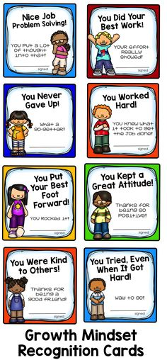 Growth Mindset Recognition Cards: Honor the positive things your students are doing! $