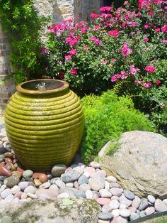 river rock and pots