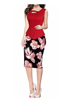 82750f0aaf65 YUZHU Formal Office Dresses Long and Short Sleeve Knee Length for American  Pencil Dress, Peplum