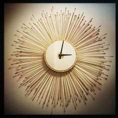 Bicycle Spoke Sunburst Wall Clock Mid Century by DreamGreatDreams