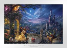 Beauty and the Beast Dancing in the Moonlight - Limited Edition Paper (SN - Standard Numbered) - SN - Standard Numbered / 12 x 18 / Unframed