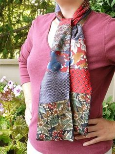 Recycle old neckties into a light, flowy silk scarf. The mix of colors and patterns is really fun.