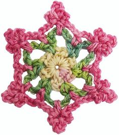 crochet flower snow flake, 12x into magic circle, ch 6, join with 2 sts into every other st, start 3rd round between petals, ch 6, picot at top of petals