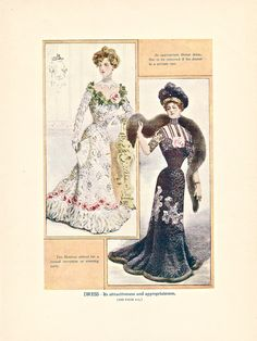 """Dress - Its attractiveness and appropriateness,"" one of 8 color illustrations from Twentieth Century Etiquette (1912).  Available at uncannyartist.com/products/illustrations-etiquette"